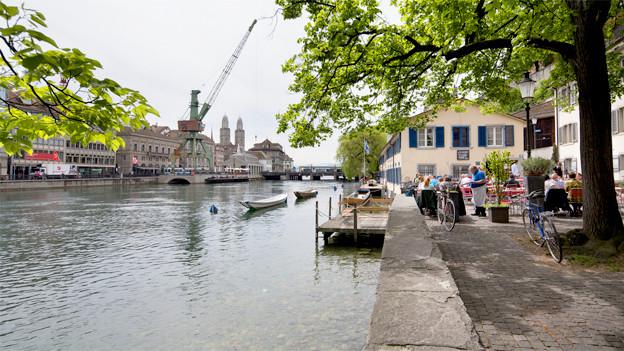 Der Blick auf die Stadt Zürich mit dem Hafenkran.