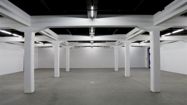 Der Innenraum einr Lagerhalle mit vielen weissen Stützen.