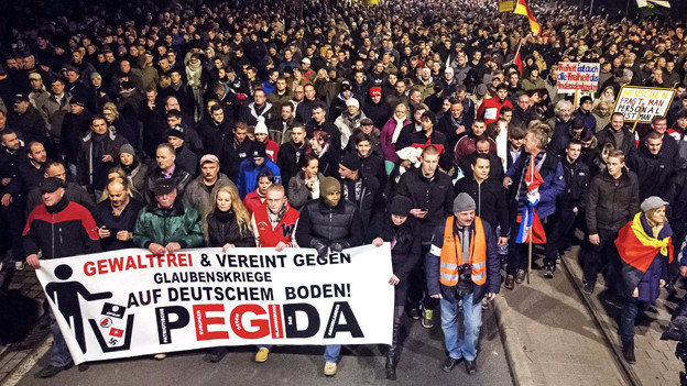 Eine Demonstration der «Patriotic Europeans against the Islamization of the West» (PEGIDA) in Dresden, 15. Dezember 2014.