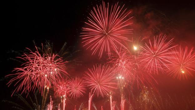 Feuerwerk über dem Genfersee.