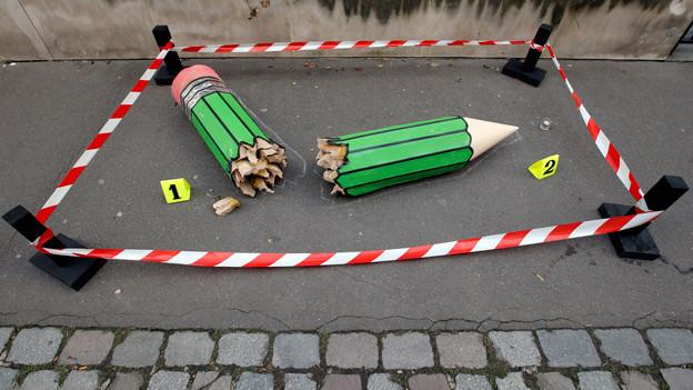 Eine anonyme Kunst-Installation nahe der Redaktion von «Charlie Hebdo» in Paris, 20. Januar 2015.