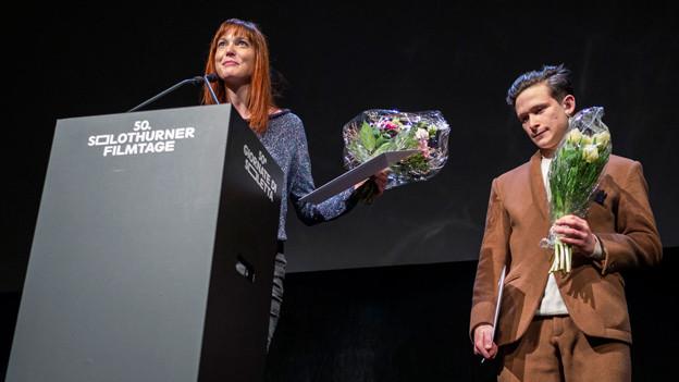Die Preisträger der Schweizer Fernsehfilmpreise 2015, Veronique Reymond und Joel Basman.