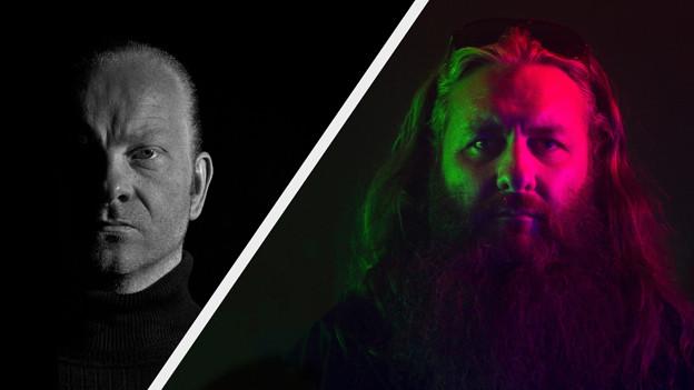 Links ist ein Mann in einer Schwarz-Weiss-Fotografie zu sehen, rechts der gleiche Mann, bunt beleuchtet.