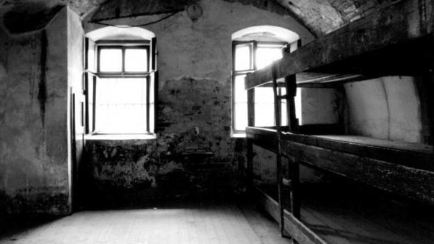 Ein altes Foto aus dem KZ Theresienstadt: Ein holzernes Bettlager in einem Keller-ähnlichen Raum.