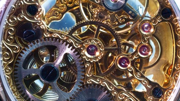 Ansicht eines Uhrwerks.