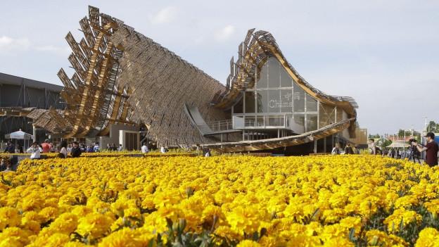 Der China Pavillon an der Expo 2015 mit gelben Blumen.