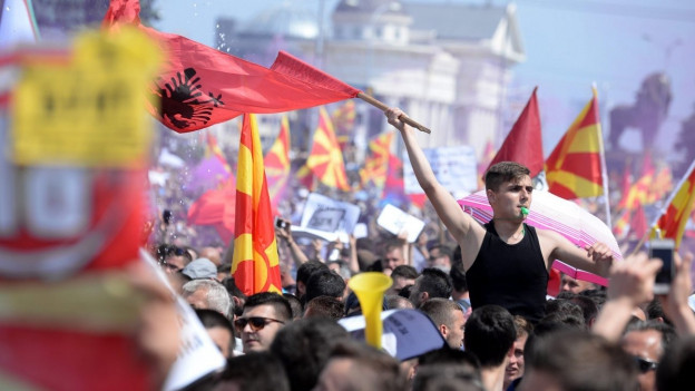 Demonstrantion gegen mazedonische Regierung in Skopje.