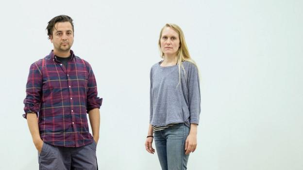 Carmen Weisskopf und Domagoj Smoljo von der !Mediengruppe Bitnik beim Swiss Art Award 2014.