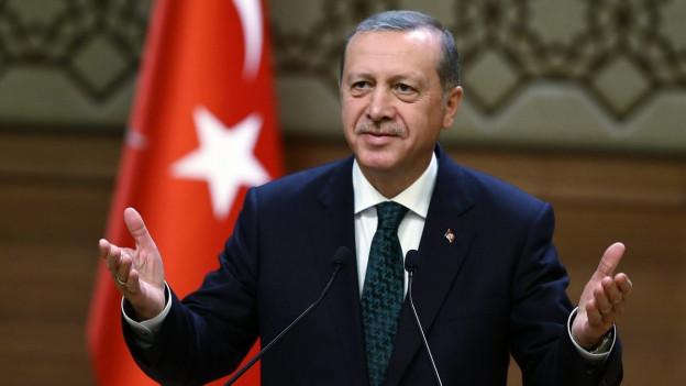Der türkische Präsident Erdogan vor einer Türkeiflagge an einem Rednerpult.
