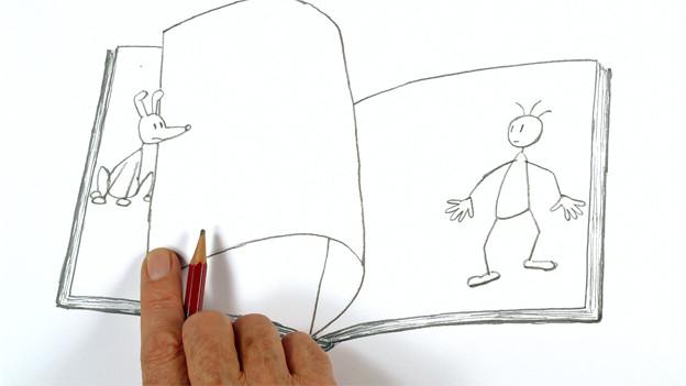 Bleistiftzeichnung: Ein Buch, aus dem ein Hund und ein Mensch heraussteigen.