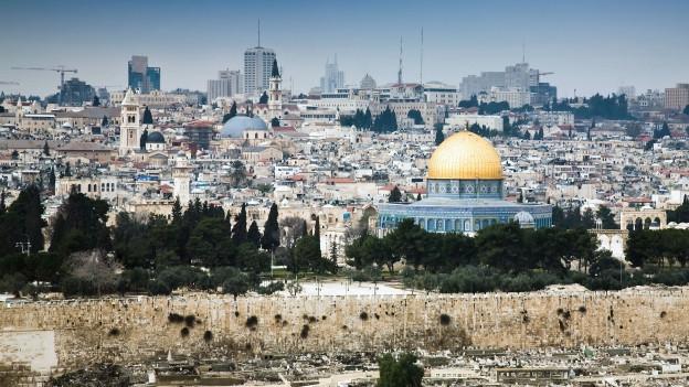 Sicht von oben auf die Altstadt von Jerusalem.
