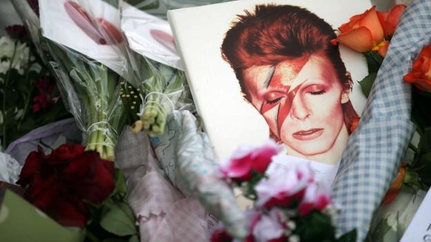 Foto von David Bowie auf einem Blumenmeer.