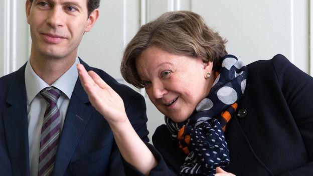 Farbige Porträtaufnahme von Isabelle Chassot imd Yves Fischer.