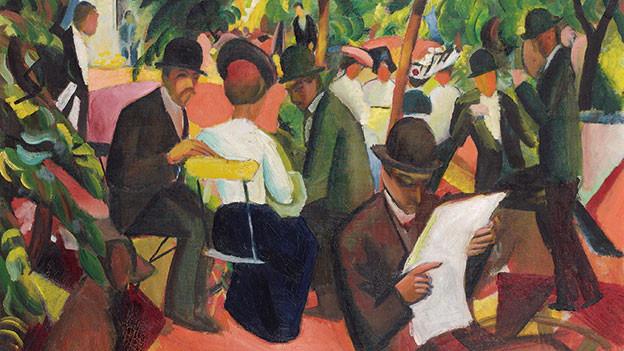 August Macke: «Gartenrestaurant», 1912 Öl auf Leinwand.