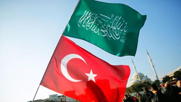 Eine Doppelflagge wird geschwungen, oben eine grüne Fahne mit dem islamischen Glaubensbekenntnis unten die der Türkischen Republik.