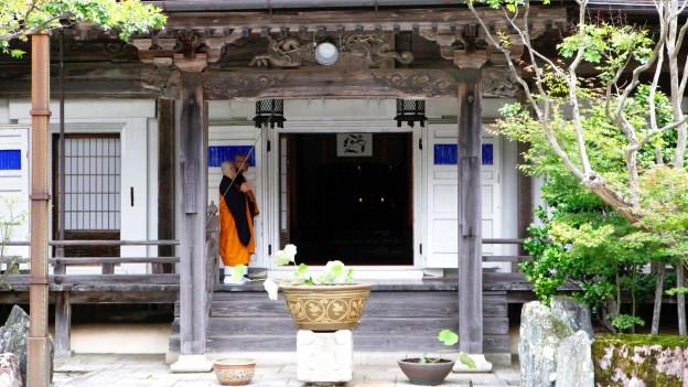 Symbolbild: Ein Zen-Mönch betritt das Kloster.