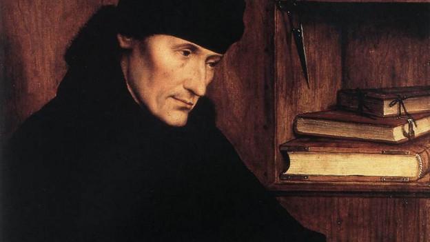Ein Gemälde von Erasmus von Rotterdam.