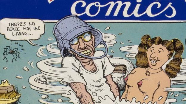 Comic: Ein Mann und eine Frau sitzen in einer altmodischen Waschmaschine.