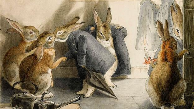 Szene aus einem Buch von Beatrix Potter. Hasen stehen in einem Raum.