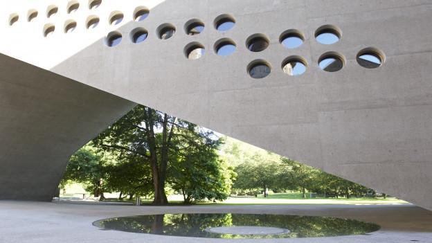 Die Fassade des Neubaus des Landesmuseums.