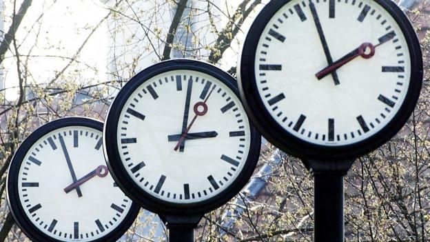 Drei grosse Uhren in einem Park.