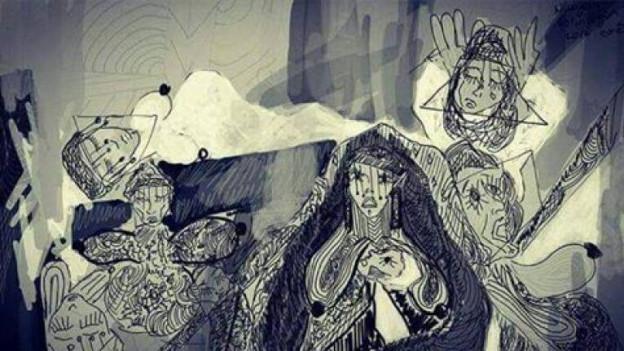 Ein düsteres Gemälde von Zehra Dogan.