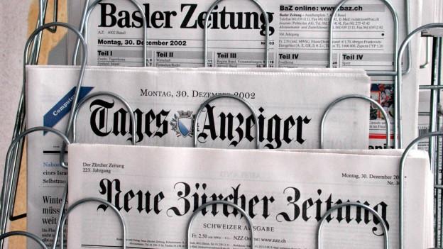Eine Auswahl Schweizer Tageszeitungen