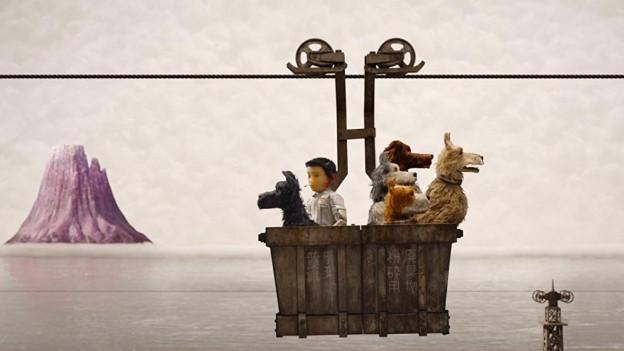 Fünf Hunde und ein Junge fahren mit einer Gondel über ein Gewässer