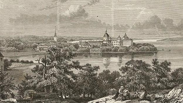 Kupferstich mit einer Ansicht des Schlosses vor Wäldern.