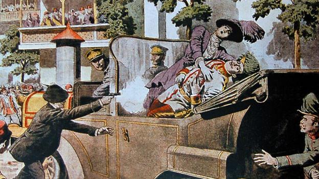 Illustration, die die Ermordung von Franz Ferdinand darstellt.