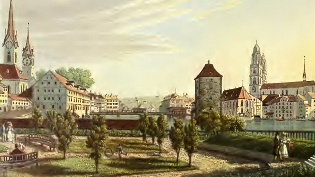 Das kolorierte Foto einer Ansicht von Zürich um 1914.