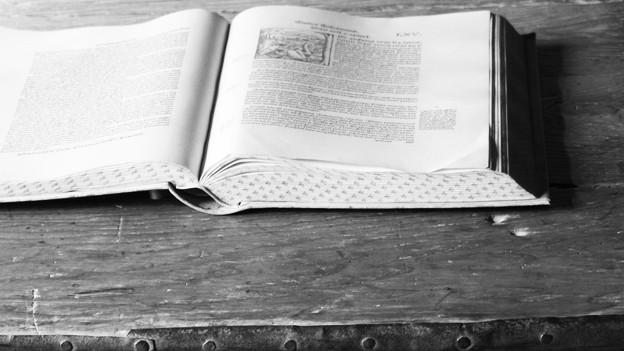 Schwarz-weiss Foto eines alten Buchs.