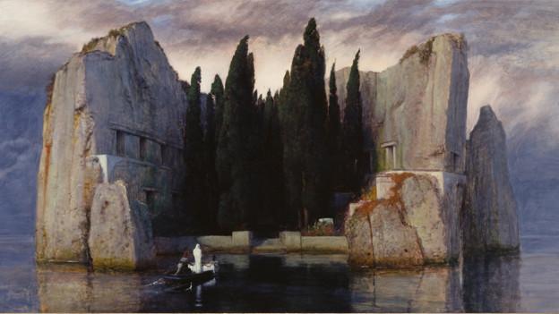 Gemälde von Böcklin: Die Toteninsel.