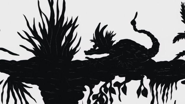 Scherenschnitt: Ein Drachen auf einem Baumstamm, auf dem zahlreiche Pflanzen wachsen.