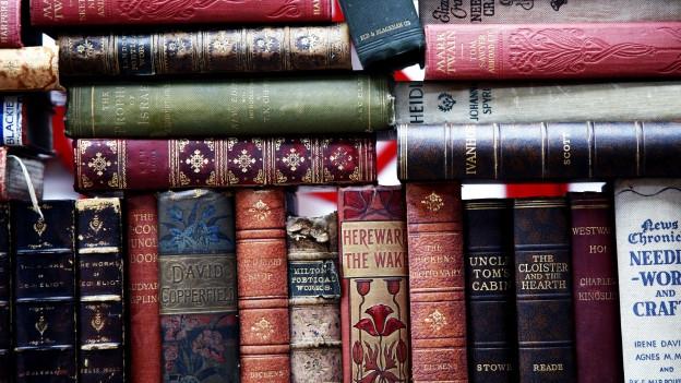 Alte englische Bücher aneinandergereiht und aufeinandergestapelt.