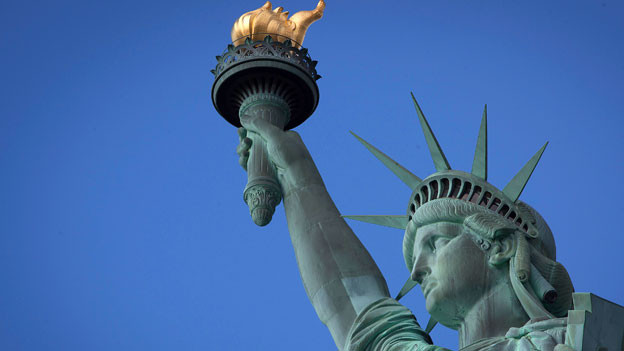 Die Statue der Freiheit auf der Insel Liberty.