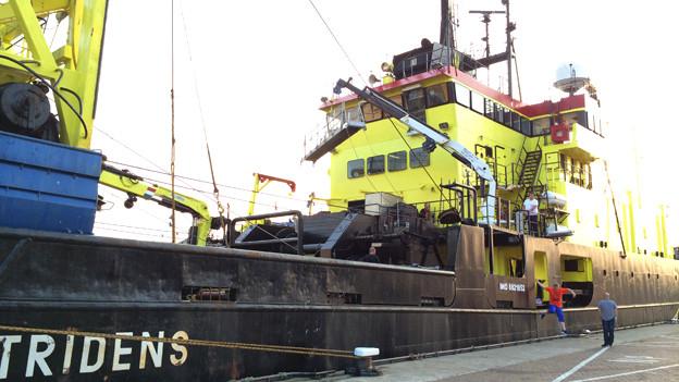 Forschungsschiff im Hafen.