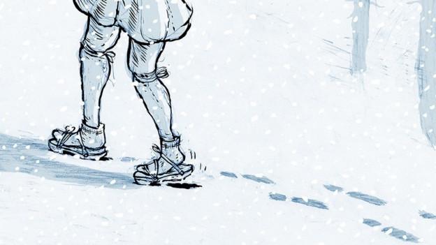 Illustation, Füsse im Schnee.
