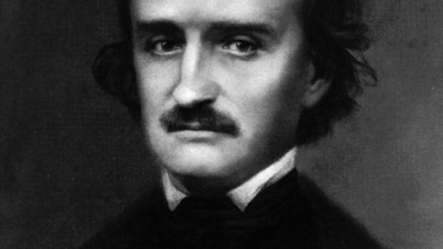 Edgar Allan Poe hat schwarzes Haar.