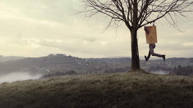 Ein Mann, der sich eine Kartonkiste übergezogen hat, hält sich an einem Baum fest. Im Hintergrund ist eine hügelige Landschaft sichtbar.