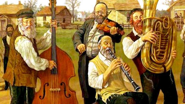 Zeichnung einer Gruppe Klezmer-Musiker.