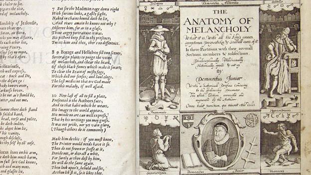Aufschlagseite «The Anatomy of Melancholy» von  1638.