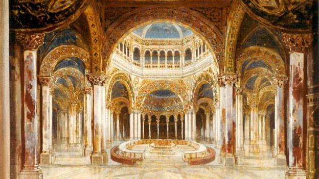 Der Gralstempel: das Bühnenbild der Uraufführung von «Parsifal» 1882 in Bayreuth.