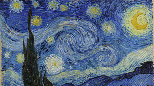 «The Starry Night» von Vincent van Gogh, 1889 (Ausschnitt).