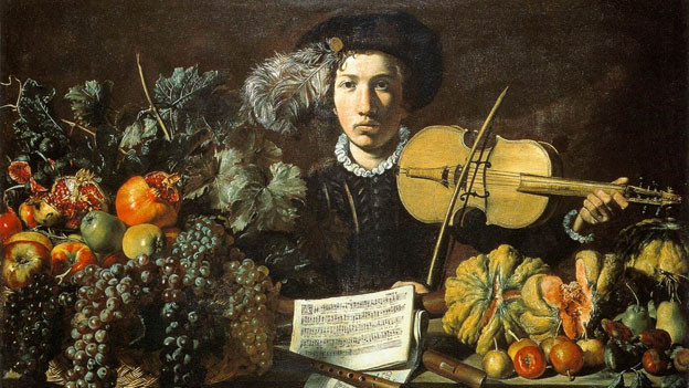 Der Violinist im Bild spielt ein Madrigal von Cipriano de Rore, Komponist der der modernen Alten .