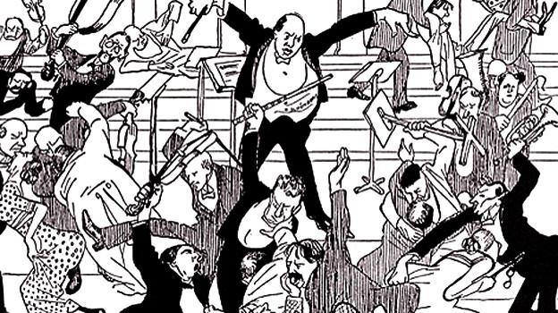 Watschenkonzert: Karikatur aus der «Zeit» vom 6. April 1913.