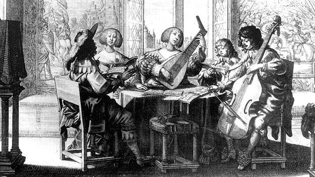 Musiker, Gravure von Abraham Bosse um 1635.