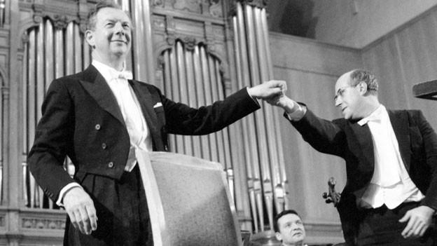 Benjamin Britten (links)  mit Rostropowitsch