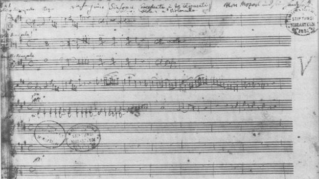 Manuskript von Mozarts «Sinfonia concertante KV 364»