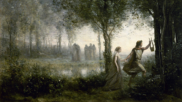 Gemälde: Ein heller Wald, im Vordergrund führt Orpheus Eurydike an der Hand